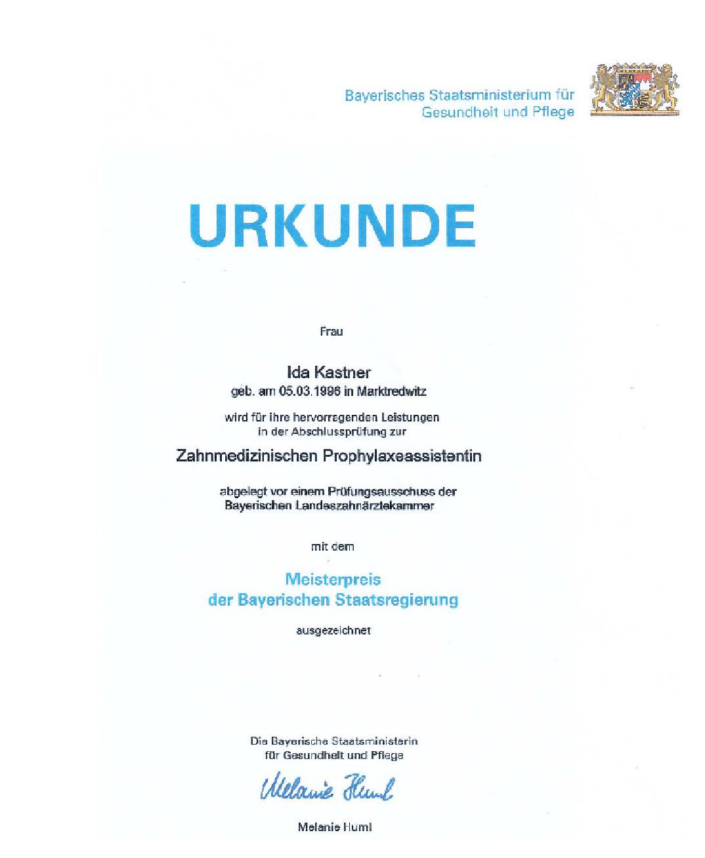 Urkunde Ida Kastner