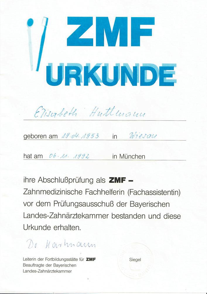 ZMF Urkunde